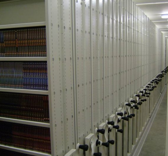 Mobile shelving for media storage