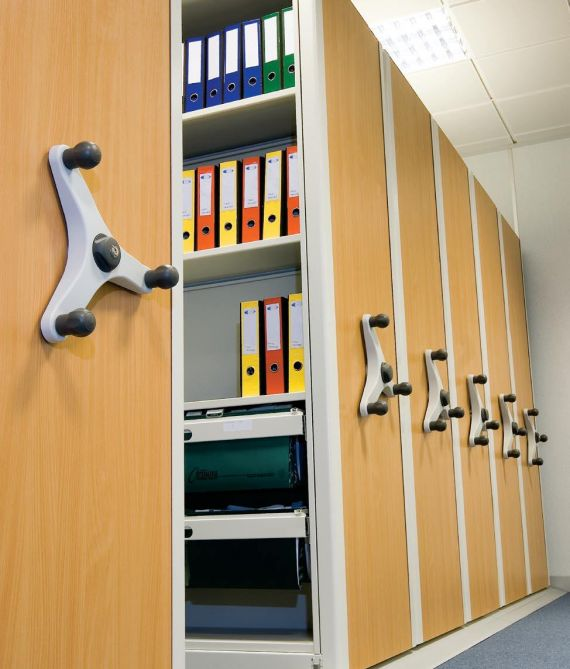 Recent installation of mechanical mobile shelving
